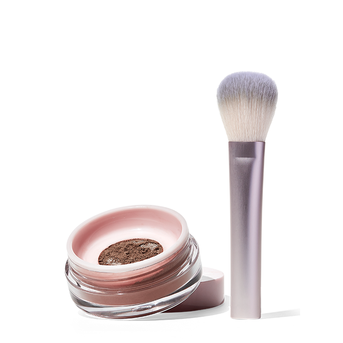 Glossier Wowder Duo, Wowder plus the Wowder Brush, Powder that sets makeup, cuts shine and blurs the appearance of pores