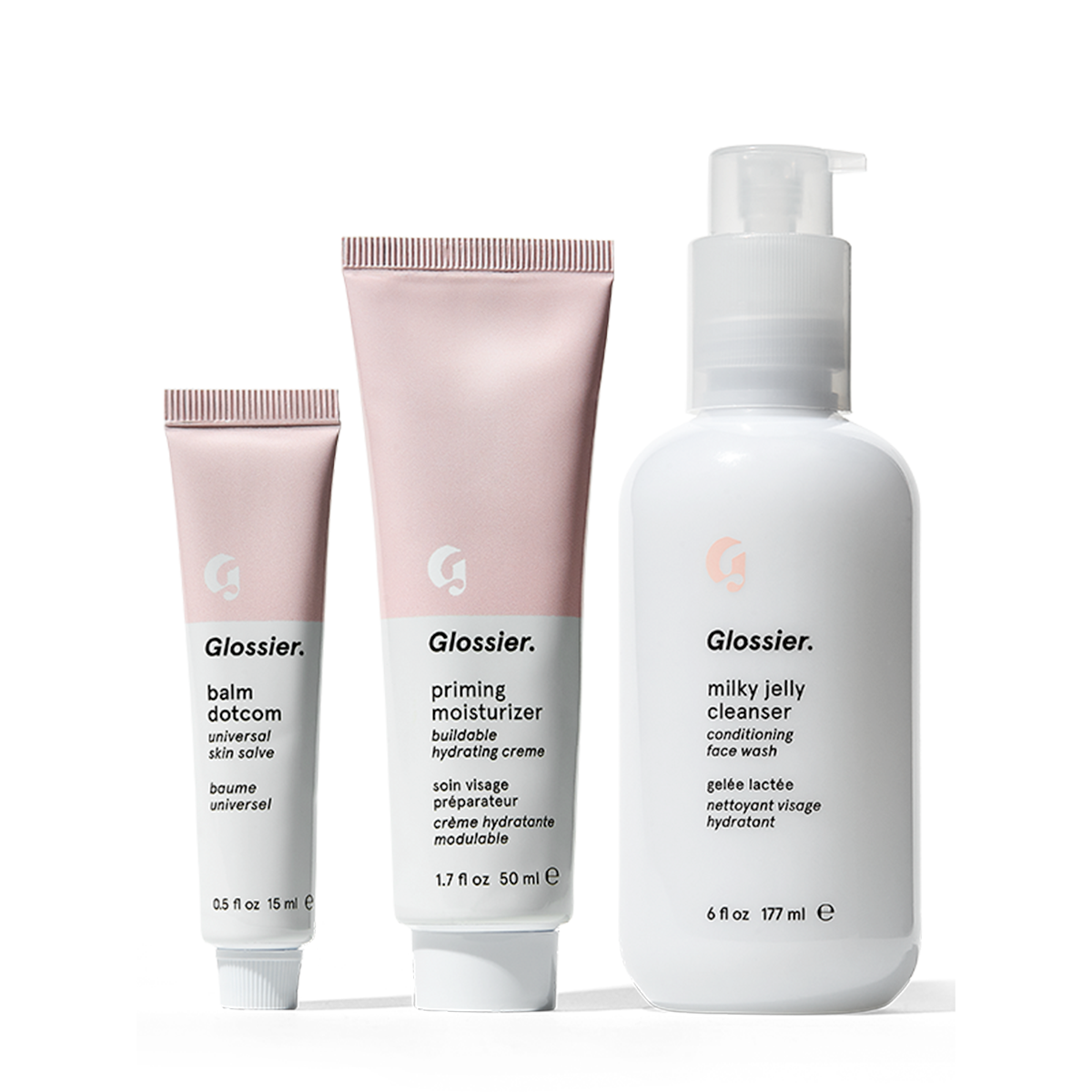 Glossier Phase 1 Set, Three everyday products that form the backbone of your skincare routine: cleanser, moisturizer and balm, for all skin types
