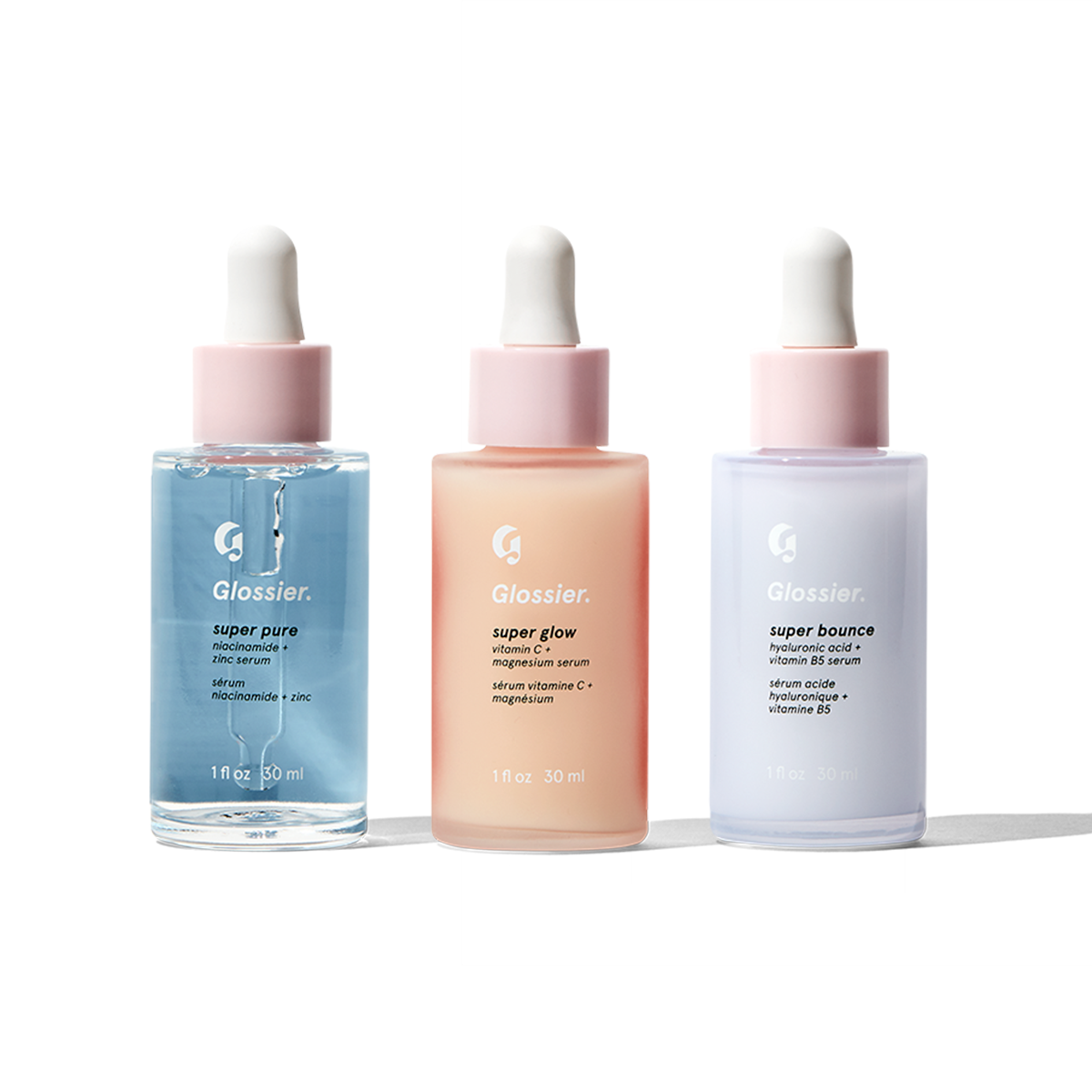 Glossier Super Pack, Our set of three serums that act as supplements for your skin: Super Glow, Super Pure, Super Bounce